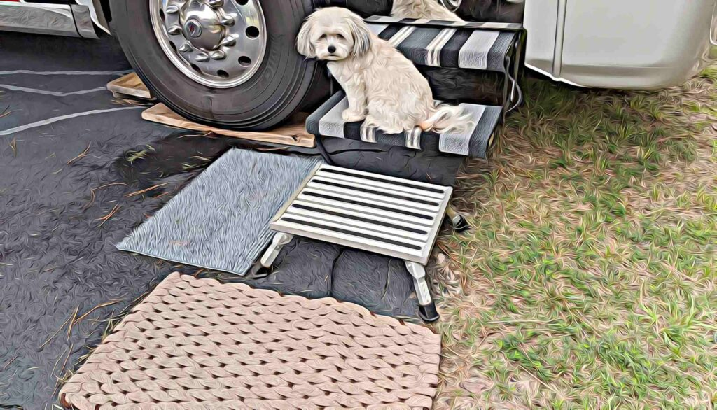 Stool to step into RV with Harley sitting on step