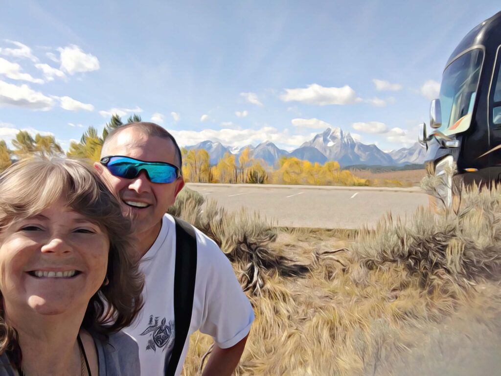 Grand Tetons with motorhome and Denise with Dave