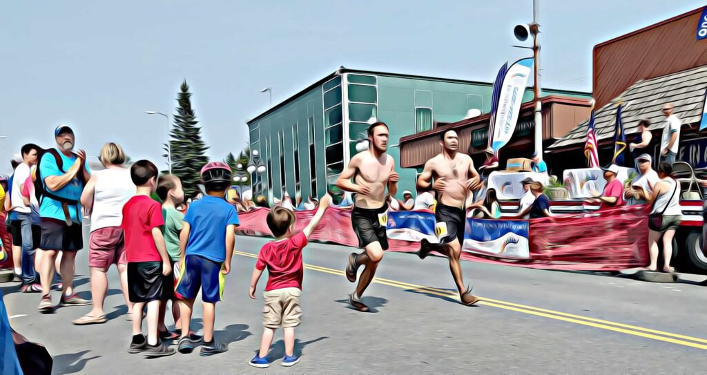 Local little boys welcoming runners on the 4th Seward Alaska