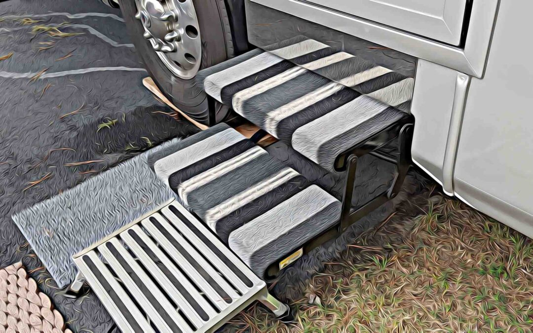 Step coverings to keep dirt out of the RV